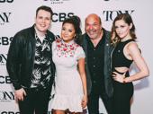 Mean Girls Tony nominees Grey Henson, Ashley Park, director/choreographer Casey Nicholaw and Taylor Louderman snap a photo.
