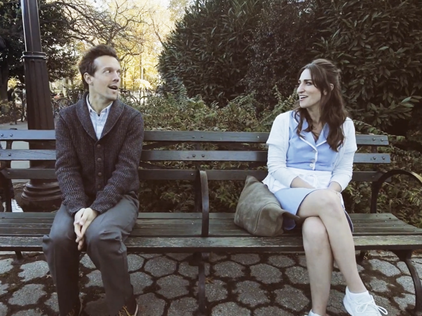 Watch Jason Mraz & Sara Bareilles' Adorable Park Bench Rendition of Waitress Tune 'It Only Takes a Taste'