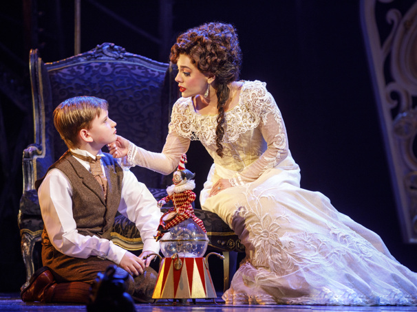 Jake Heston Miller as Gustave and Meghan Picerno as Christine Daaé in the national tour of Love Never Dies.