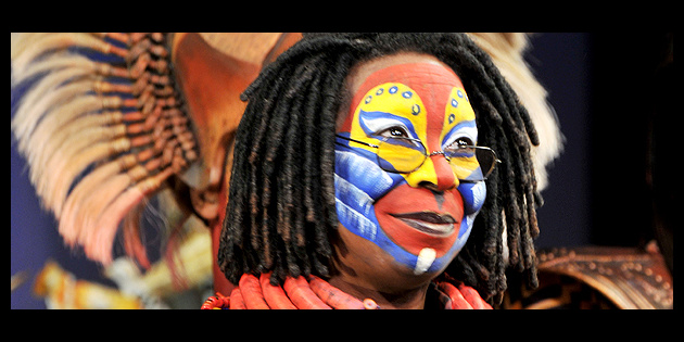 whoopi goldberg feels the love on stage at the lion king