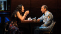 Katrina Lenk as Dina and Sasson Gabay as Tewfiq in The Band's Visit.