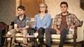 Daniel Radcliffe as Fingal, Cherry Jones as Emily Penrose and Bobby Cannavale as D'Agata in The Lifespan of a Fact.