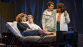 Betsy Wolfe as Cordelia, Andrew Rannells as Whizzer, Christian Borle as Marvin and Tracie Thoms as Charlotte in Falsettos.