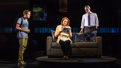 Ben Platt as Evan Hansen, Jennifer Laura Thompson as Cynthia Murphy and Michael Park as Larry Murphy in Dear Evan Hansen.(Original Broadway cast)