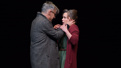 Joe Mantello as Tom Wingfield and Sally Field as Amanda Wingfield in The Glass Menagerie.