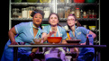 Charity Angel Dawson as Becky, Sara Bareilles as Jenna and Caitlin Houlahan as Dawn in Waitress.