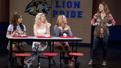 Ashley Park as Gretchen, Taylor Louderman as Regina, Kate Rockwell as Karen and Erika Henningsen as Cady in Mean Girls.