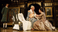 Huss Garbiya as Doctor Jose Cervi, Mark Rylance as King Philippe V and Melody Grove as Isabella Farnese in Farinelli and the King.