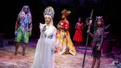 Norm Lewis as Agwe, Lea Salonga as Erzulie, Alex Newell as Asaka, Hailey Kilgore as Ti Moune and Tamyra Gray as Pape Ge in Once On This Island.