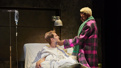 Andrew Garfield as Prior Walter and Nathan Stewart-Jarrett as Belize in in Angels in America.