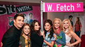 Mean Girls Broadway cast members Erika Henningsen, Ashley Park, Kate Rockwell and Taylor Louderman pose with the show's writer Tina Fey and the movie's original Aaron Samuels, Jonathan Bennett.