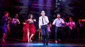 Christie Prades as Gloria Estefan, Kevin Tellez, Mauricio Martinez as Emilio Estefan and the company of the national tour of On Your Feet.