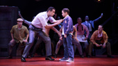 Nick Cordero as Sonny and Will Coombs as Young Calogero in A Bronx Tale.