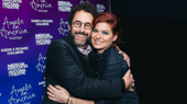 Angels in America scribe Tony Kushner and Debra Messing hug it out.