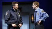 Chris Evans as Bill and Michael Cera as Jeff in Lobby Hero.