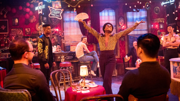 Nathan Lee Graham as Willie and the cast of The View UpStairs.