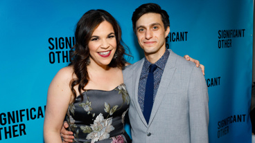 These two! Significant Other BFFs Lindsay Mendez and Gideon Glick snap a pic.