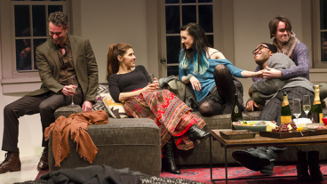 Omar Metwally as Paul, Marisa Tomei as George, Lena Hall as Pip, Austin Smith as David and David McElwee as Freddie in How to Transcend a Happy Marriage.