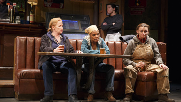 Johanna Day as Tracey, Michelle Wilson as Cynthia and Alison Wright as Jessie in Sweat.