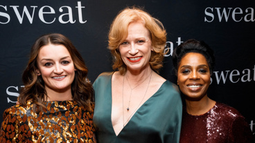 Sweat stars Alison Wright, Johanna Day and Michelle Wilson get glam for opening night.