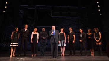 The prince is in the building! Harold Prince and the company take their curtain call on opening night.