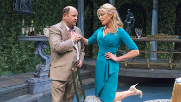 Jason Alexander as Barry Dragonetti and Sherie Rene Scott as Atalanta in The Portuguese Kid.