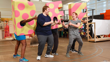 "We're best friends, and this is the friend dance! SpongeBob SquarePants' Danny Skinner and Ethan Slater perform ""BFF."""