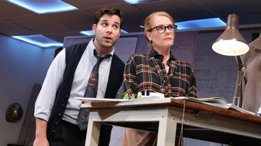 Skylar Astin as Webber and Marg Helgenberger as Janice in What We're Up Against