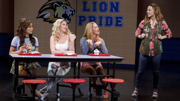 Ashley Park as Gretchen, Taylor Louderman as Regina, Kate Rockwell as Karen and Erika Henningsen as Cady in Mean Girls.