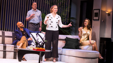 Keegan Michael Key as Gerald, Jeremy Shamos as Norm, Amy Schumer as Corky and Laura Benanti as Laura in Meteor Shower