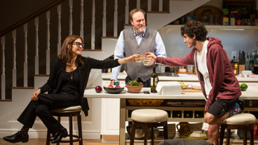 Jessica Hecht as Sherri Rosen-Mason, Andrew Garman as Bill Mason and Ben Edelman as Charlie Luther Mason in Admissions.
