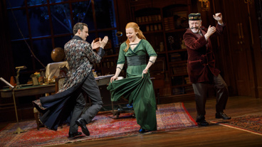 Henry Hadden-Paton as Henry Higgins, Lauren Ambrose as Eliza Doolittle and Allan Cordurner as Colonel Pickering in My Fair Lady